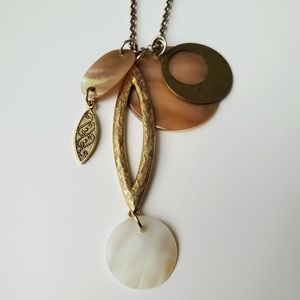 Gold/ Brown Drop Necklace